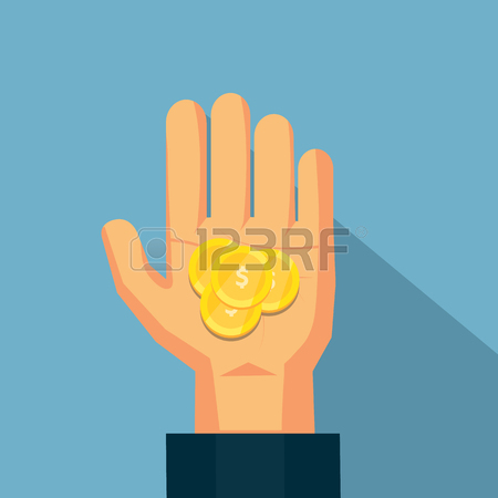 The coin on the hand .Vector design for business finance.