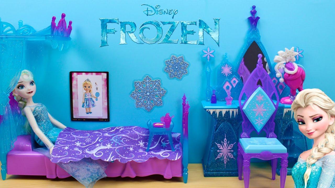 Decoración habitación Elsa FROZEN en español | Cama con dosel de hielo y  Tocador de Frozen - YouTube