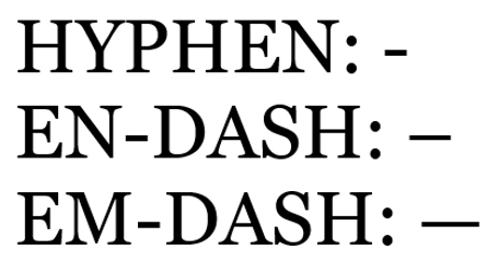 Hypens and Dashes