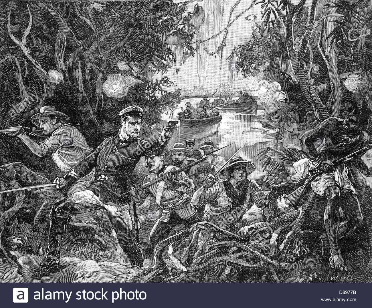 DELAGOA BAY DISPUTE British Naval party attacks pirates on the River Congo  in 1875 after they had fired at a British schooner