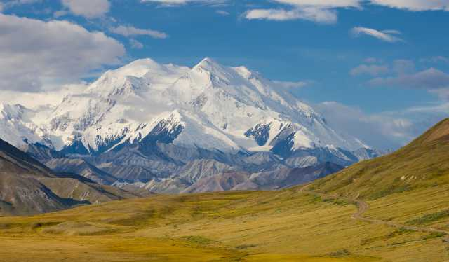 Denali mountain view from inside the national park