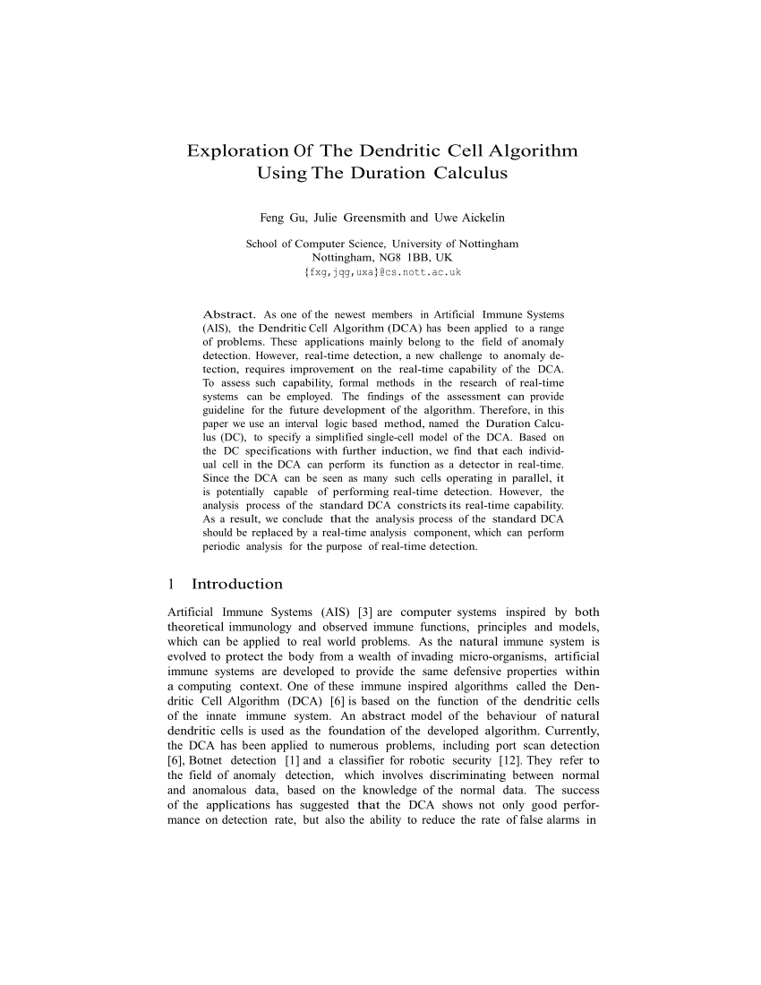 (PDF) Exploration Of The Dendritic Cell Algorithm Using The Duration  Calculus