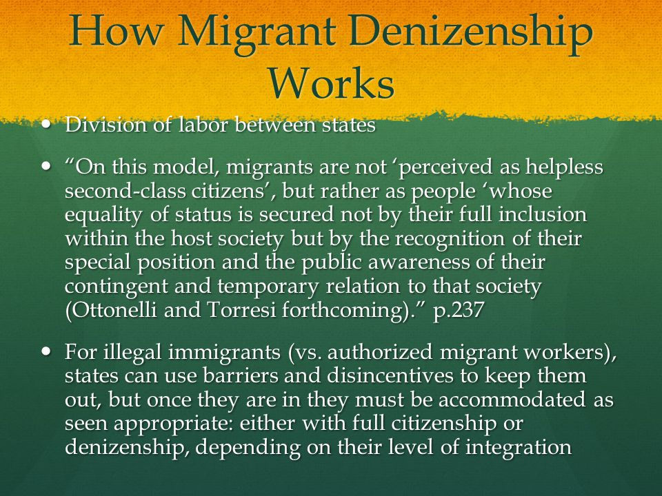 How Migrant Denizenship Works Division of labor between states Division of  labor between states On this