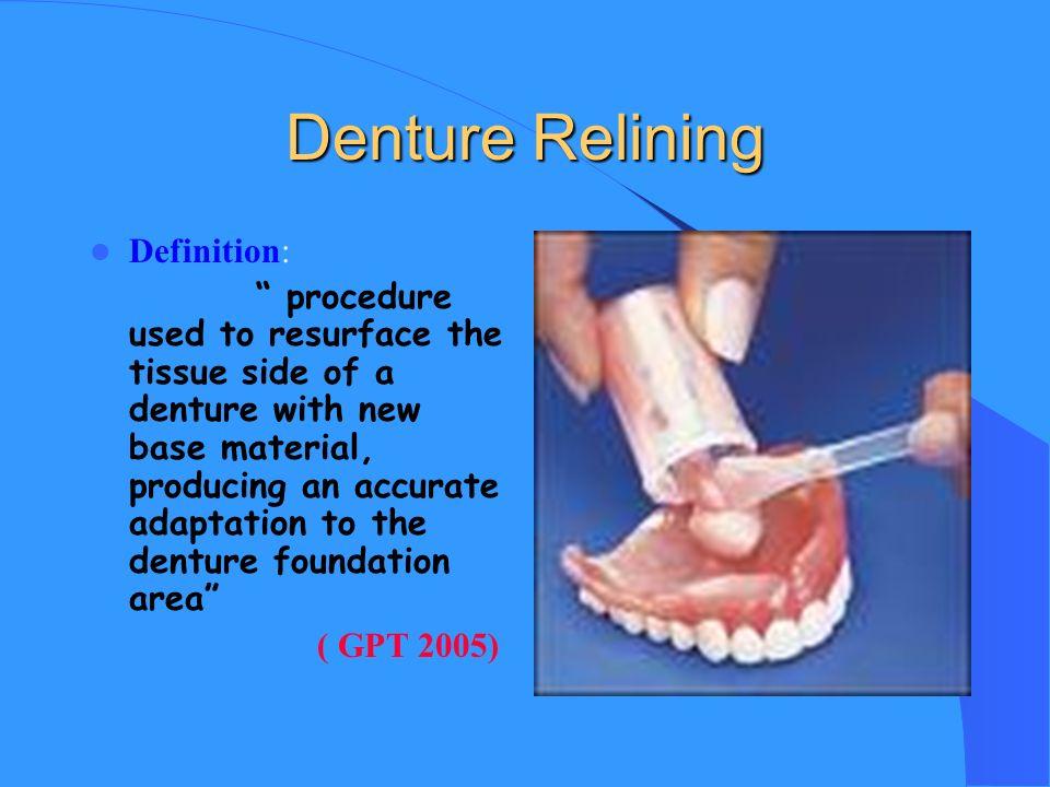 2 Denture Relining Definition: