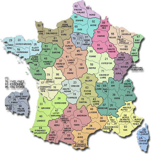 carte de france departement CARTE DE FRANCE DEPARTEMENT   Carte des départements Français