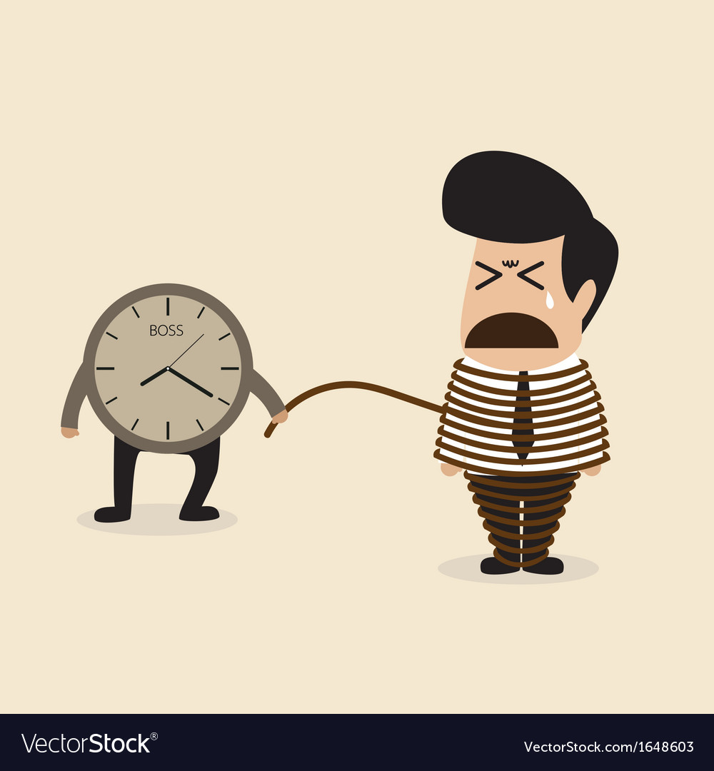 Employee life is depended by a time vector image