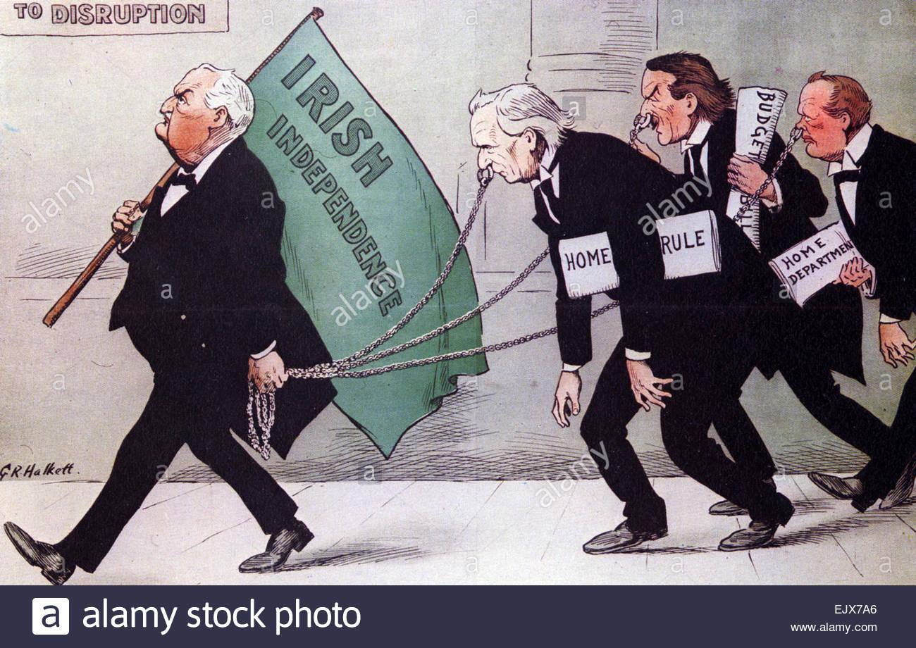 Elecciones Generales 1910 Cartoon mostrando cómo los liberales dependía del  voto nacionalista irlandés. Imagen De