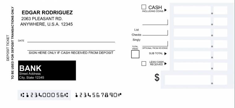 Blank deposit slip