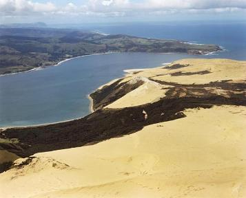 Extensive dunes next to the entrance of Hokianga Harbour in Northland.  Image: GNS Science