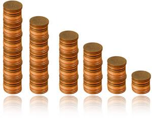 Descending stacks of coins representing asset depreciation, Fishbowl  Inventory Blog