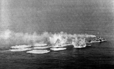 Depth charges launched from an unknown destroyer escort