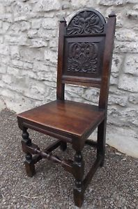 Image is loading Antique-17th-Century-carved-oak-hall-CHAIR-backstool-