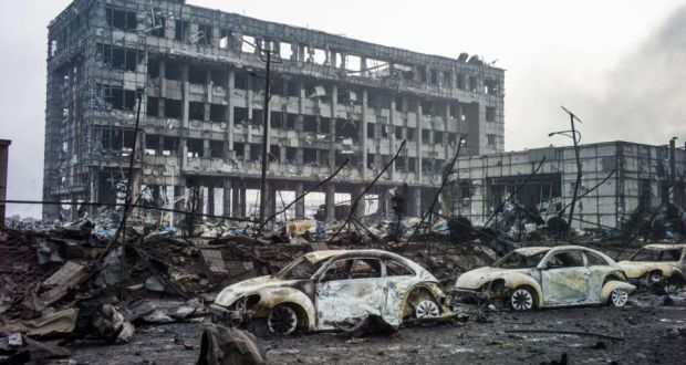 The aftermath of the chemical warehouse explosion in Tianjin: at least 145  were killed in