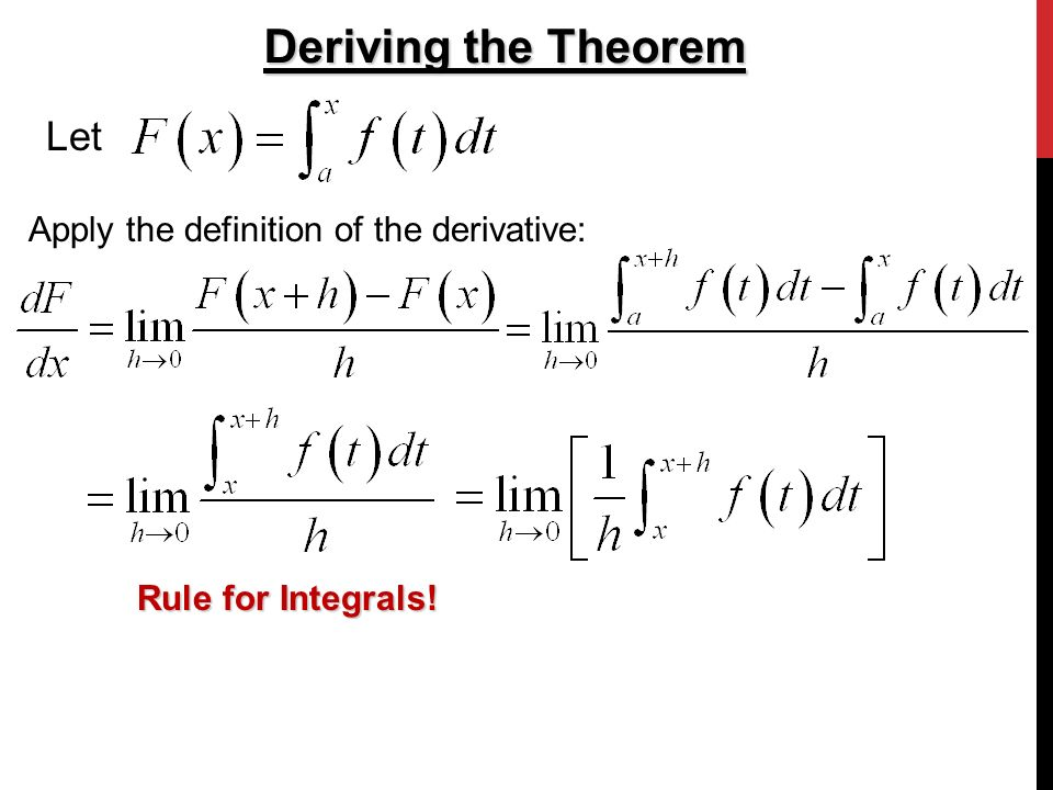 2 Deriving the Theorem Let Apply the definition of the derivative: Rule for  Integrals!