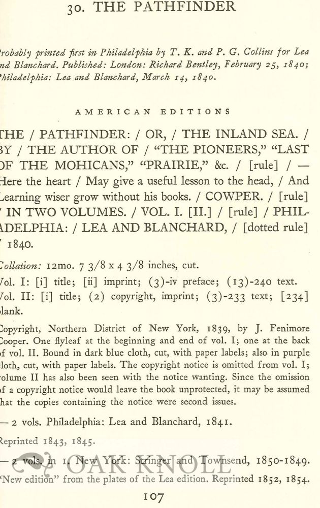 A DESCRIPTIVE BIBLIOGRAPHY OF THE WRITINGS OF JAMES FENIMORE COOPER.