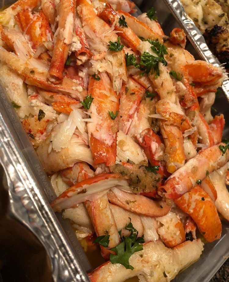 A heaping pan of deshelled snow crab legs. Drool!!!