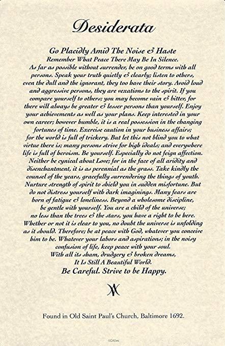 11 x 17 Poster Desiderata poema por Max Ehrmann. 1692 diseño de museo  calidad de
