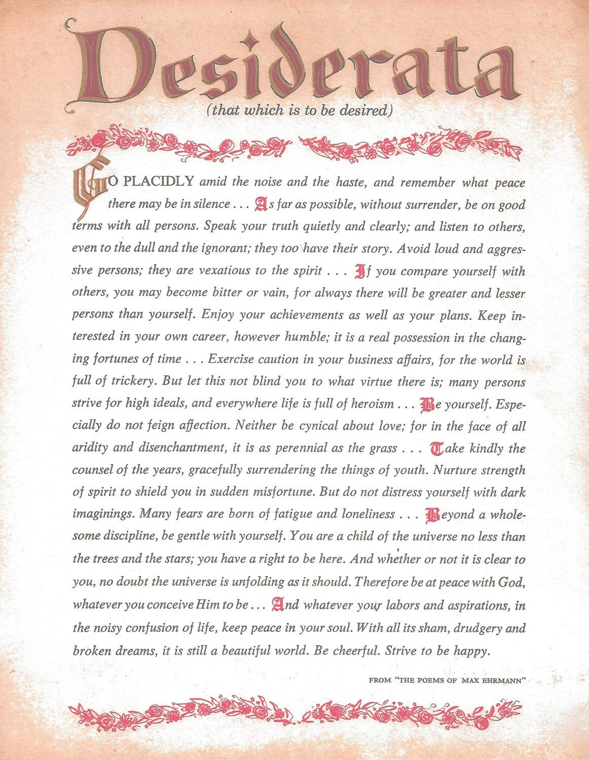 Desiderata Printable Copy Of Poem | Desiderata Poem Art Print by  DesiderataSuperstore on Etsy