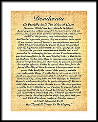 Desiderata By Max Ehrmann On Fossil Paper Framed Print