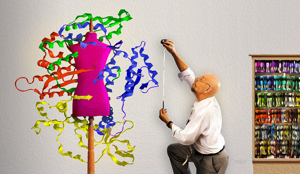 A tailor measures a dress dummy surrounded by models of human protein  strands as seen under