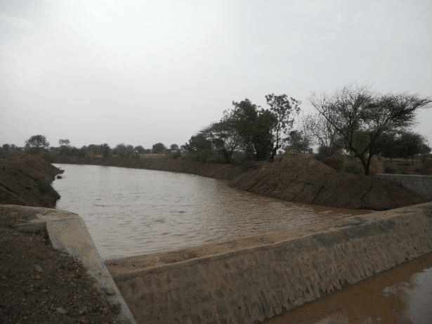 Desilted check dam at Baramati