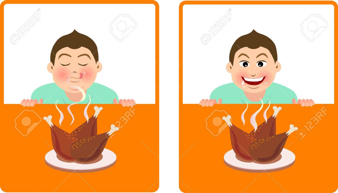 expression for a boy smell the fragrance of fried chicken and desirous of  food Stock Vector