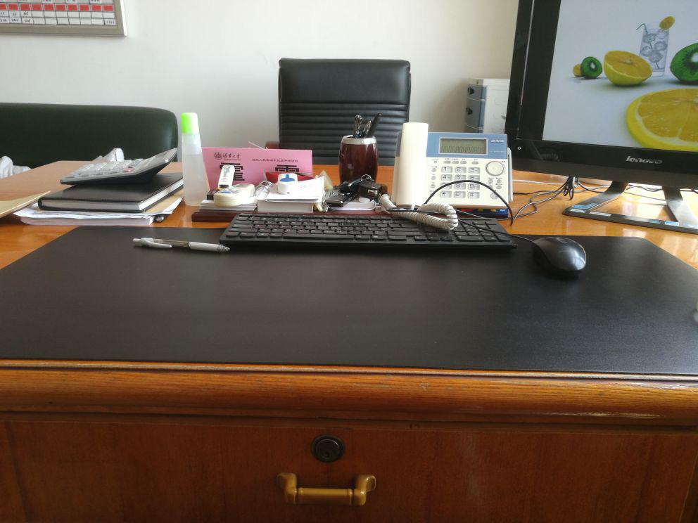 Black pu leather desk pad