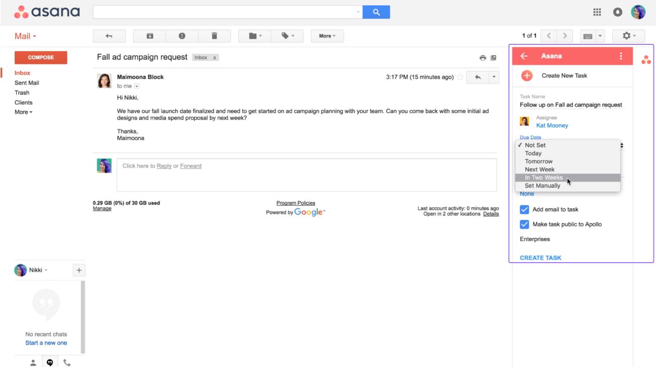 Usa el complemento de Asana para Gmail disponible en el GSuite marketplace  para transformar tus emails