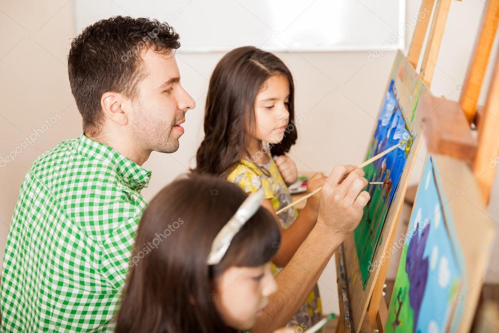 Eacher working on a painting — Stock Photo