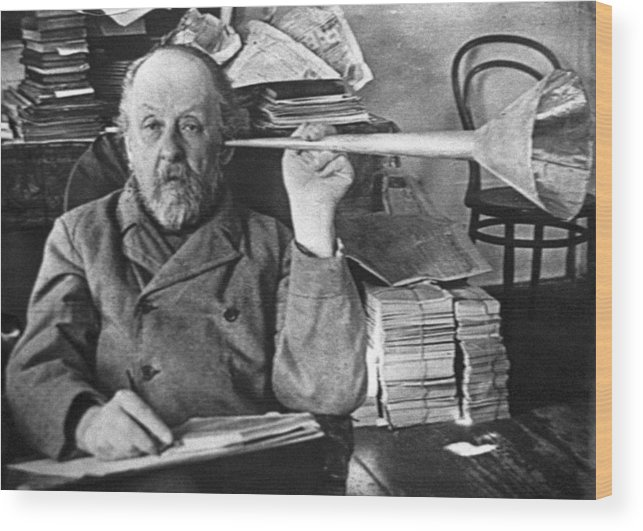 Konstantin Tsiolkovsky Wood Print featuring the photograph Tsiolkovsky With  His Ear Trumpet by Ria Novosti