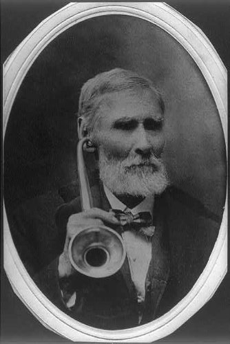 HistoricalFindings Photo: W.P. Zuber,c1900, holding ear trumpet to hear;  aged 88