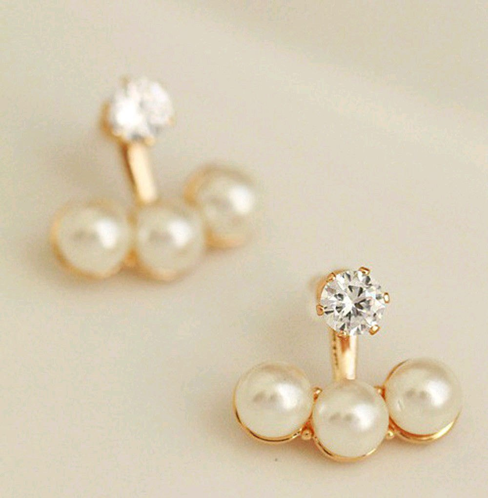 Women Crystal Golden Shell Pearl front and back Ear Stud Earrings Earbob  Fashion-in Stud Earrings from Jewelry & Accessories on Traveller Location |  Alibaba