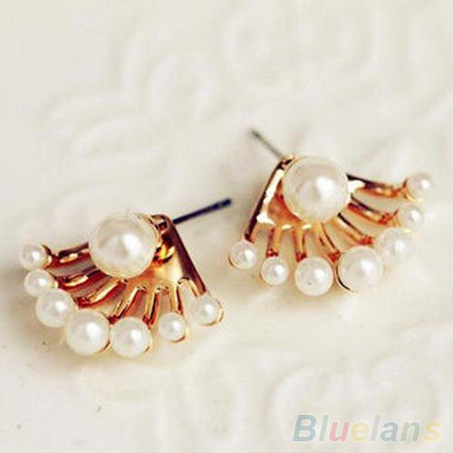Fashion Front & Back Earings Pearl Ear Earbobs Ear piercing Studs earrings  for women 1QFV
