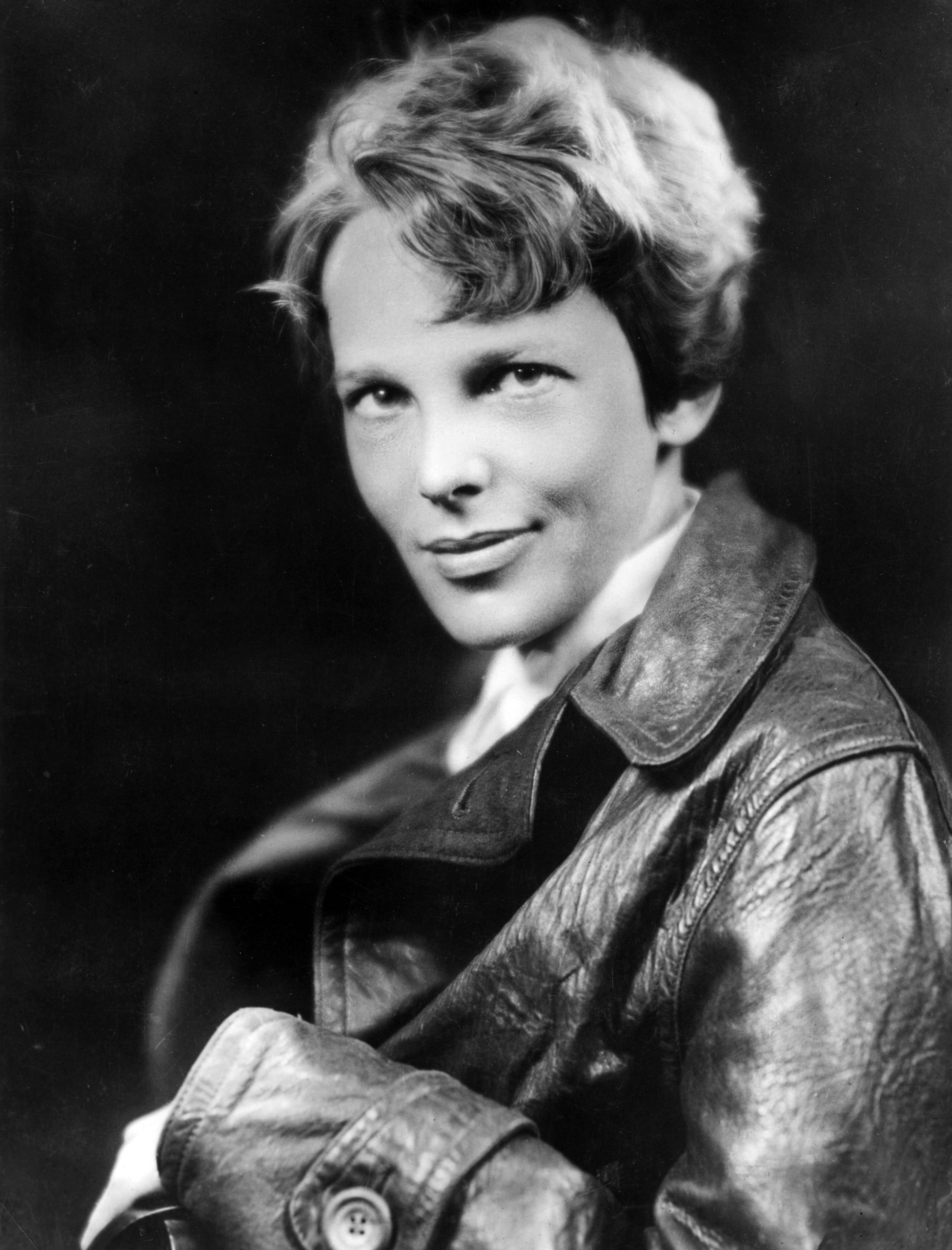 American aviator Amelia Earhart, the first woman to complete a solo  transatlantic flight, wearing