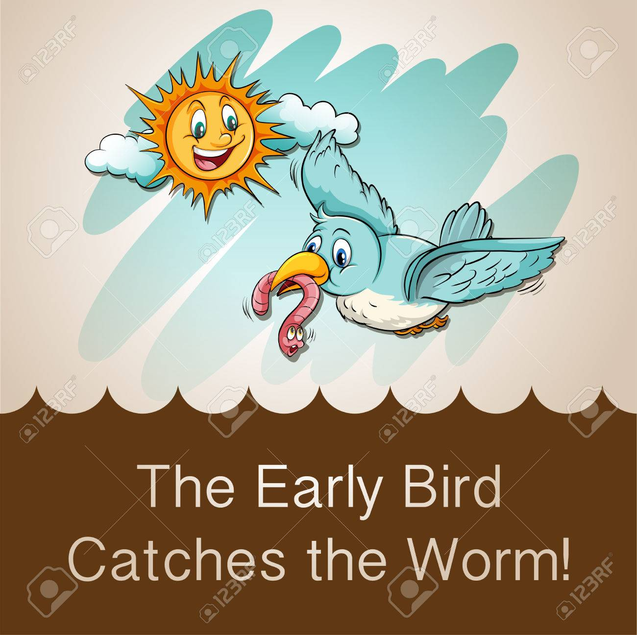 Idiom saying the early bird catches the worm Stock Vector - 42988592