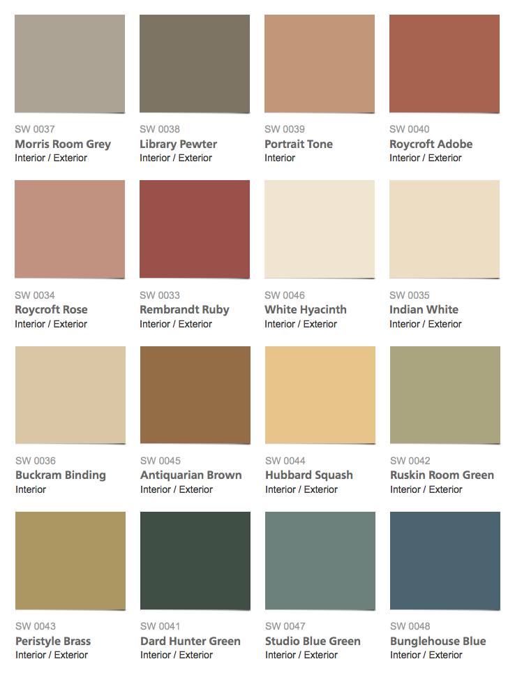 Sherwin-Williams – Historic Color Collection – Arts & Crafts Interior Paint  Colors
