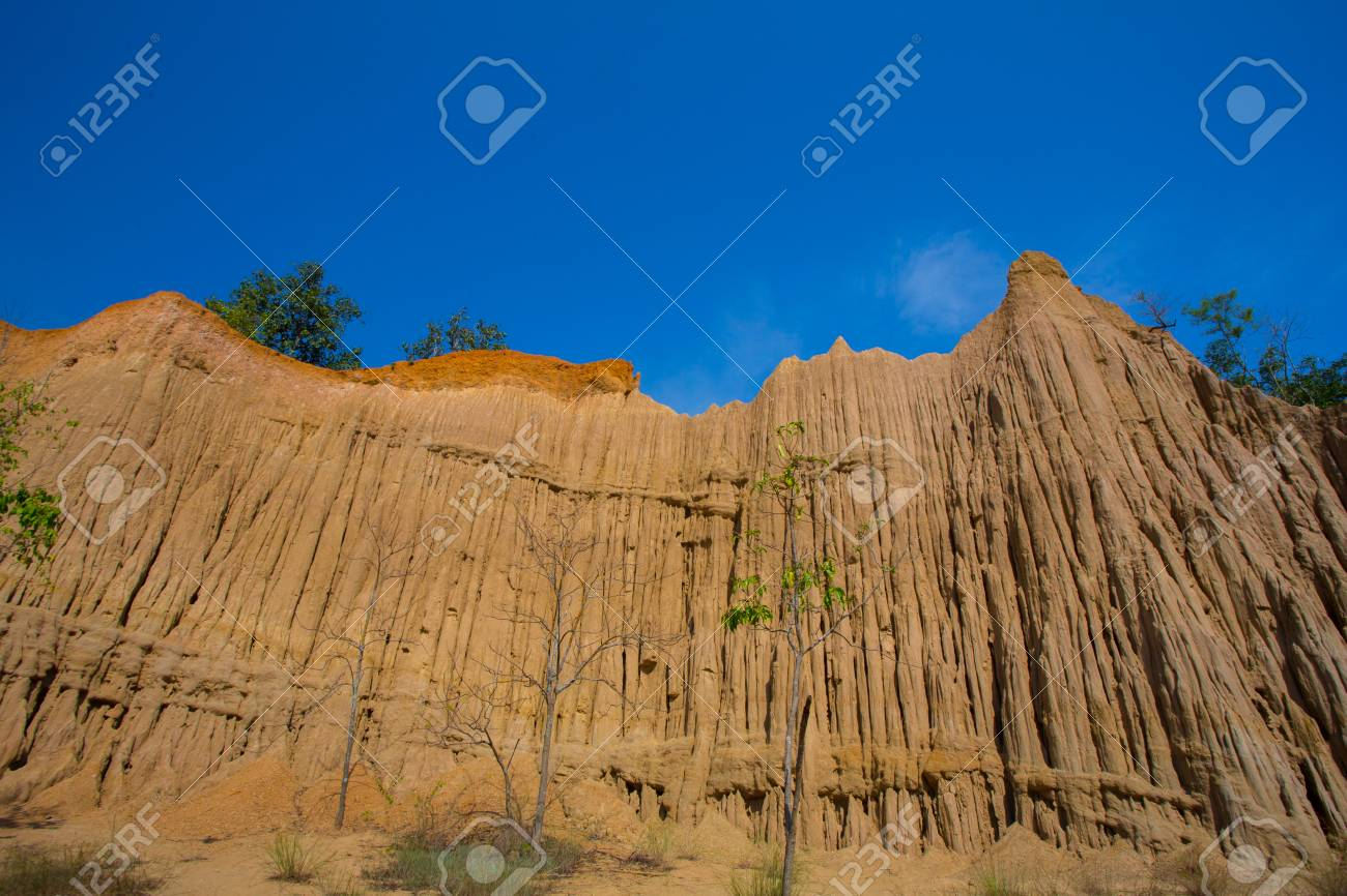 Land Texture with plant of soil erosion called earth pillar in Nan,  Thailand Stock Photo