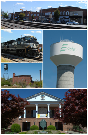 Top, left to right: Downtown Easley, Norfolk Southern Railway, Easley Mill,