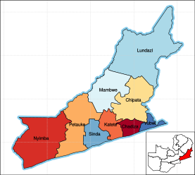 Eastern Province showing its districts.
