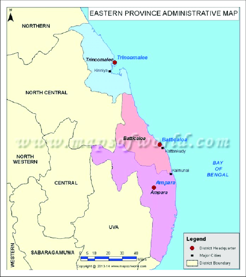Map of the Eastern Province of Sri Lanka.