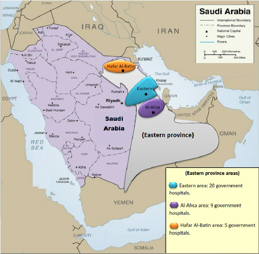 The main areas in the Eastern province in Saudi Arabia. Notes: Eastern  province is divided in to three main areas: 1) Eastern area (Blue area),