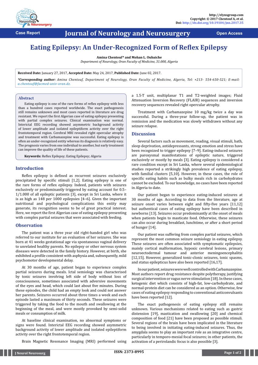 (PDF) Eating Epilepsy: An Under-Recognized Form of Reflex Epilepsy