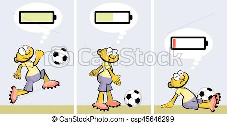 Soccer player ebullient and tired. Charged or discharged batterie -  csp45646299