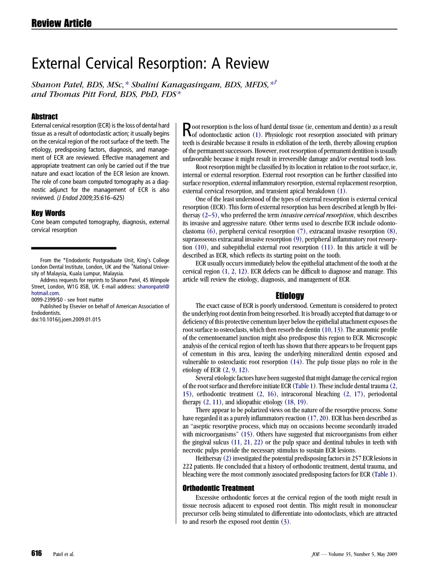 (PDF) Resorption: Part 1. Pathology, classification and aetiology