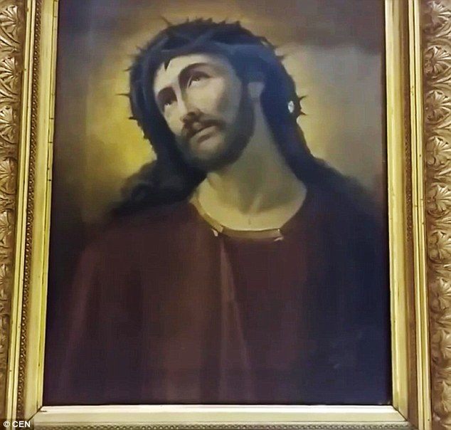An early version (pictured) of the Ecce Homo of Borja painting made famous  by