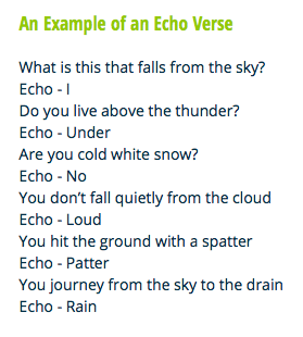 What is an Echo Verse Poem? An Echo Verse is when the last word or syllable  in a line is repeated or echoed underneath to form a rhyming line,