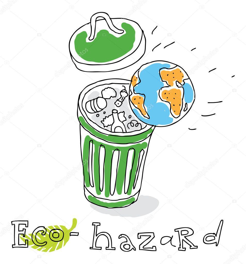 Eco hazard, vector drawing — Stock Vector