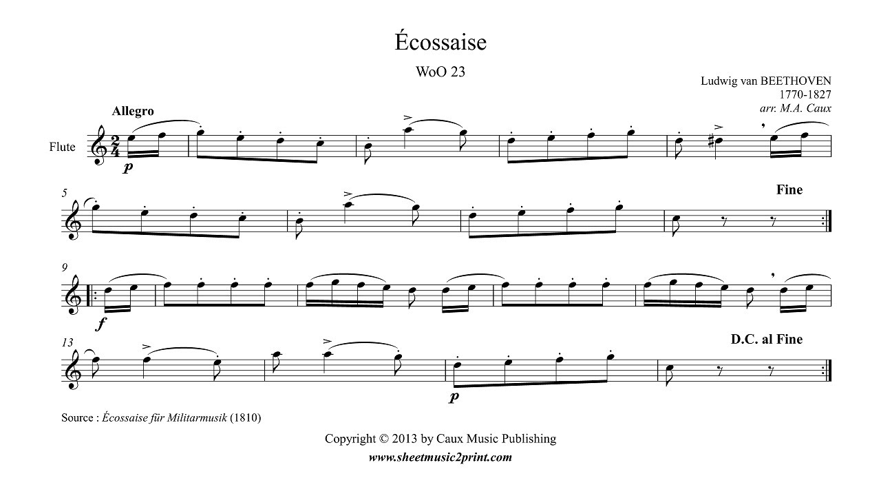 Beethoven : Écossaise WoO 23 for Flute