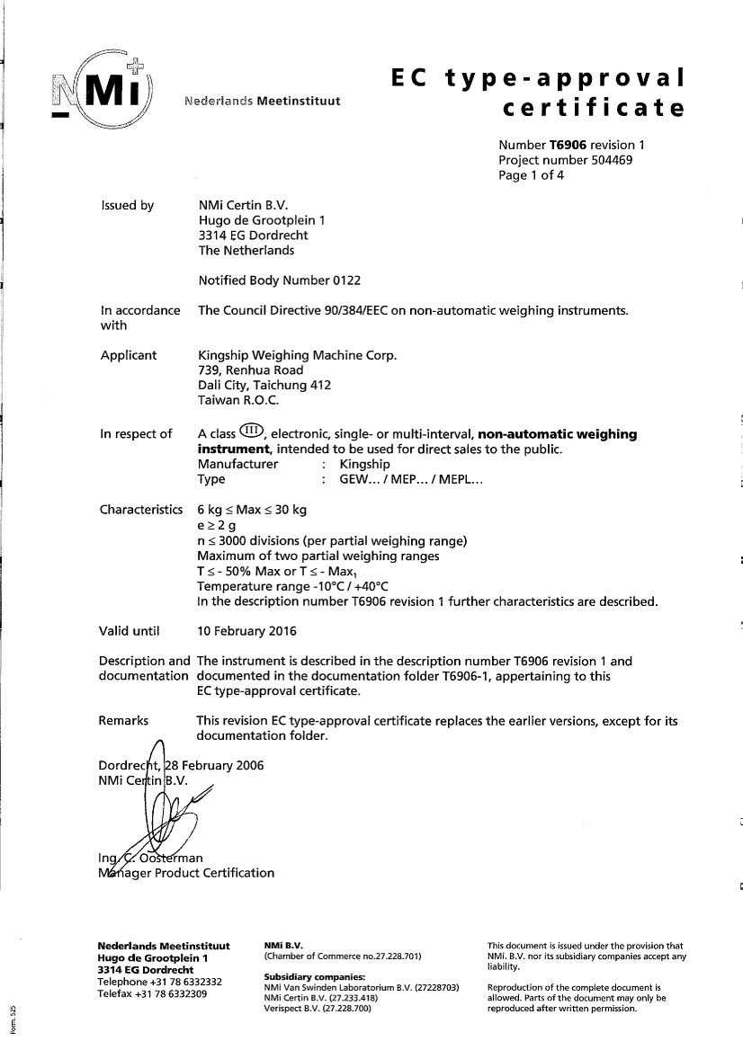 EC type-approval Certificate Number T6906.