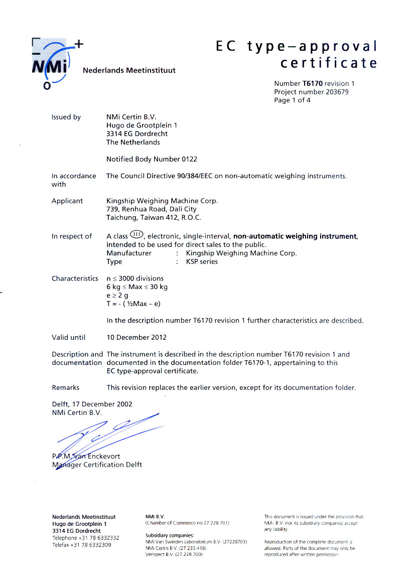 EC type-approval Certificate Number T6170.